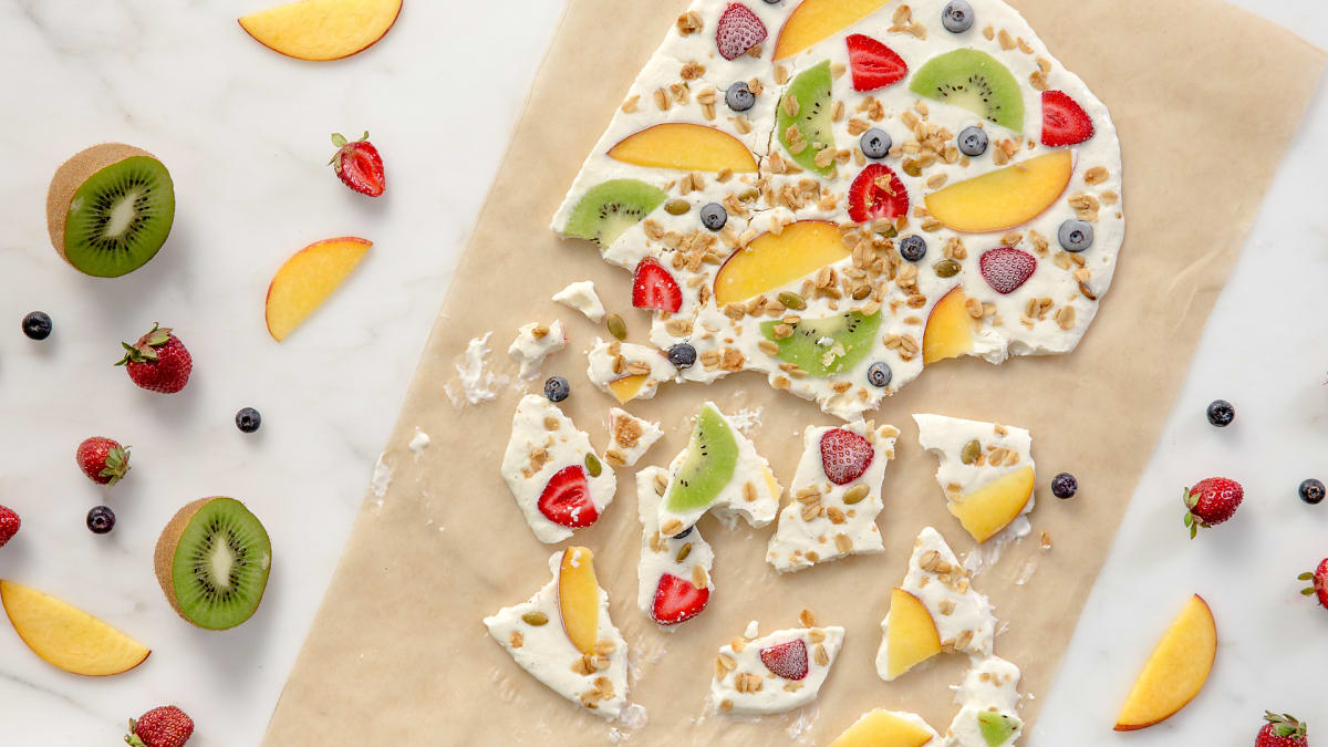 Vanilla Greek yogurt and maple syrup make the base for this fruit bark.